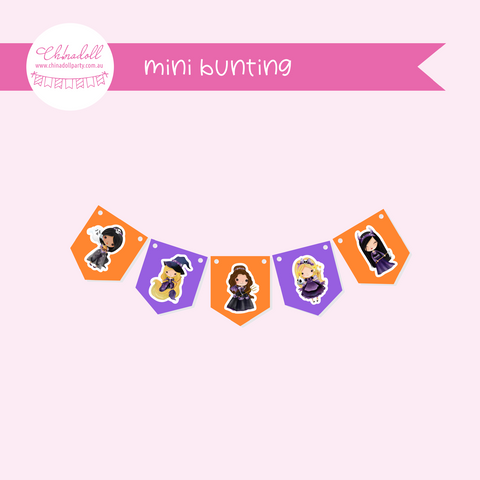 witch or princess | mini bunting | WP-941