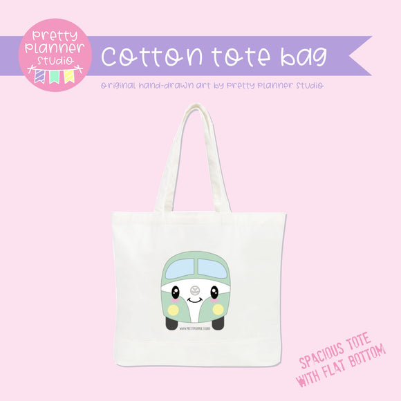 Happy campers - Kombi mint | cotton tote bag | HC-009/1 | OOPS