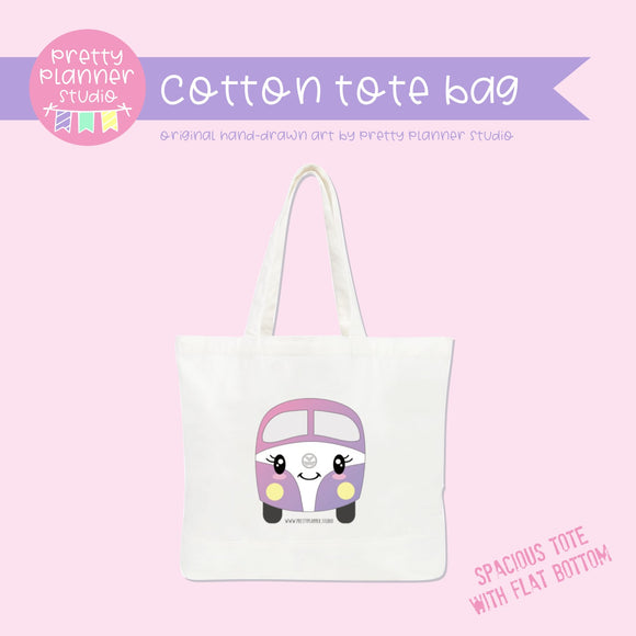 Happy campers - Kombi pink | cotton tote bag | HC-009/2