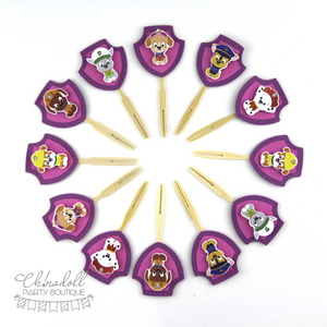 rescue pups cupcake toppers | 12 pack | pink | paw patrol | READY TO SHIP