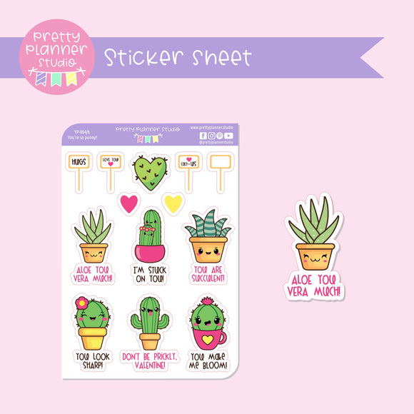 You're so punny! - cactus | deco sticker sheet | YP-004/6