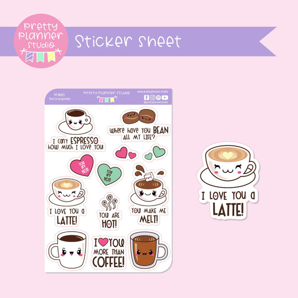 You're so punny! - coffee | deco sticker sheet | YP-004/5