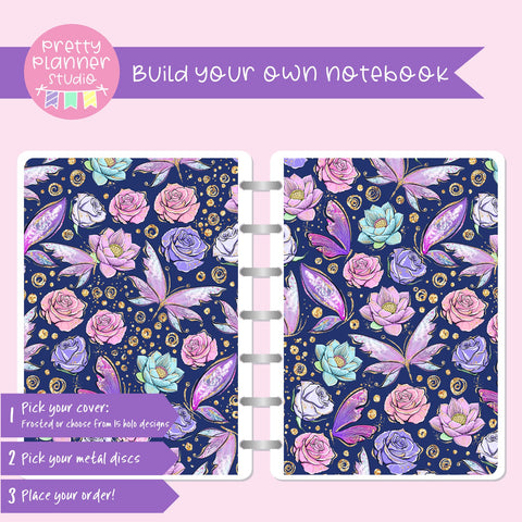 Butterfly wings - Navy floral | Build your own notebook | BW-008/2