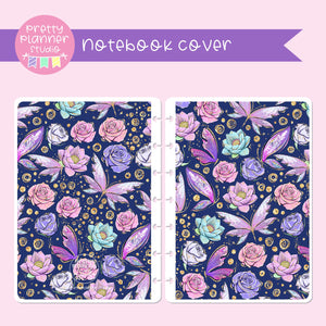 Butterfly wings - Navy floral | sticker book | holographic planner / notebook cover | Build your own notebook | BW-008/2