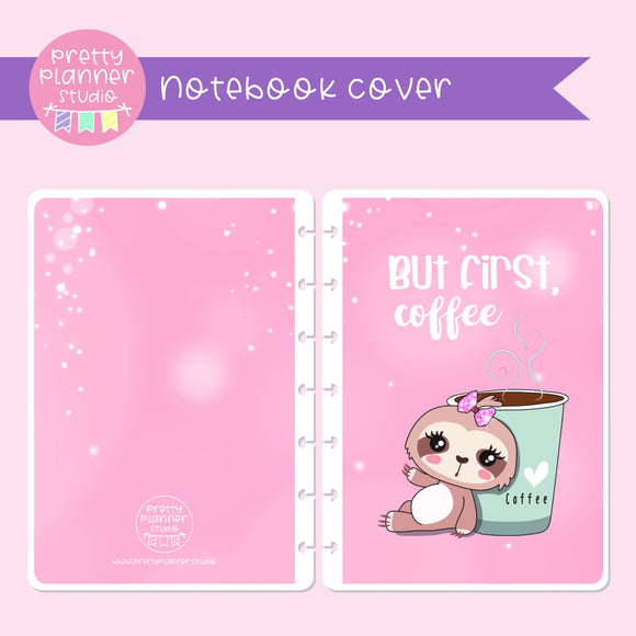 Sloth Life II - But first, coffee - Bronnie Sloth | holographic planner / notebook cover | Build your own notebook | SL-008/3