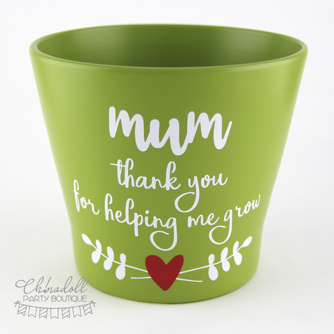 flower pot | large | mum thank you for helping me grow | READY TO SHIP