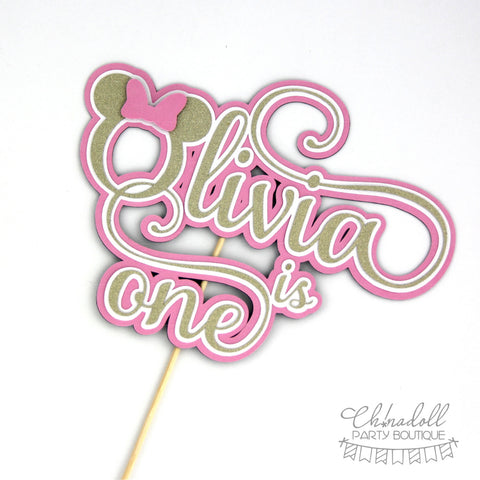 minnie mouse inspired cake topper | pink and gold glitter