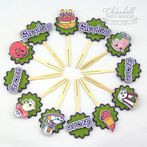 shopkins cupcake toppers | 12 pack | green