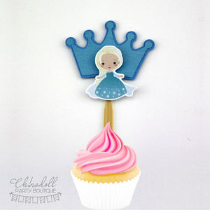 snow princesses cupcake toppers | 12 pack | inspired by disney frozen