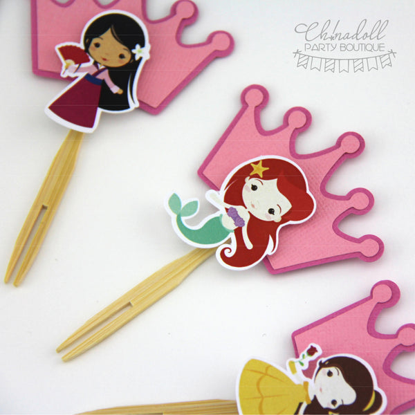 little princesses cupcake toppers | 12 pack | READY TO SHIP| inspired by disney princesses