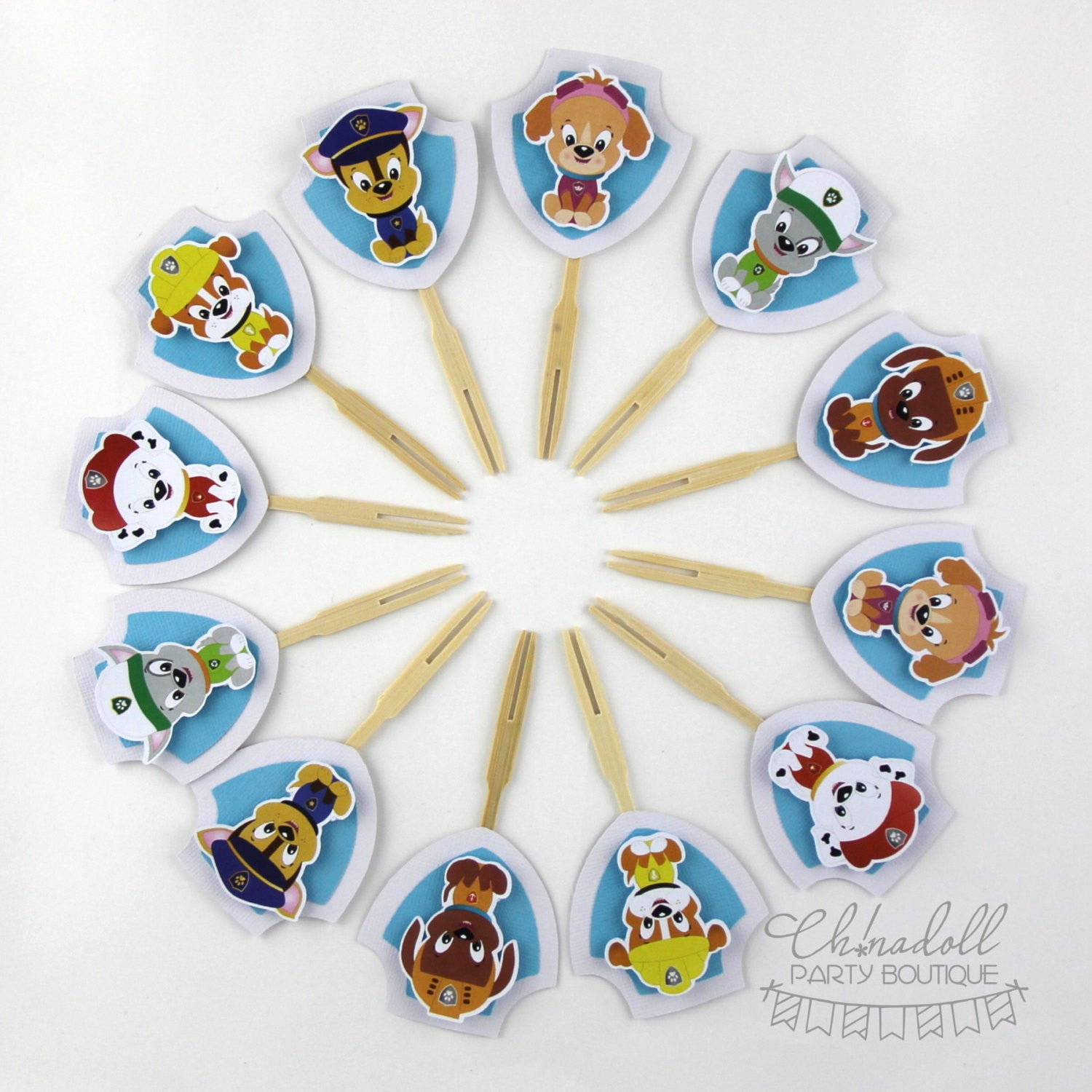 rescue pups cupcake toppers | 12 pack | paw patrol
