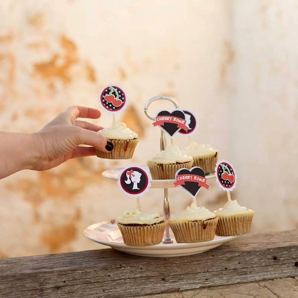 rockabilly cupcake toppers | 12 pack