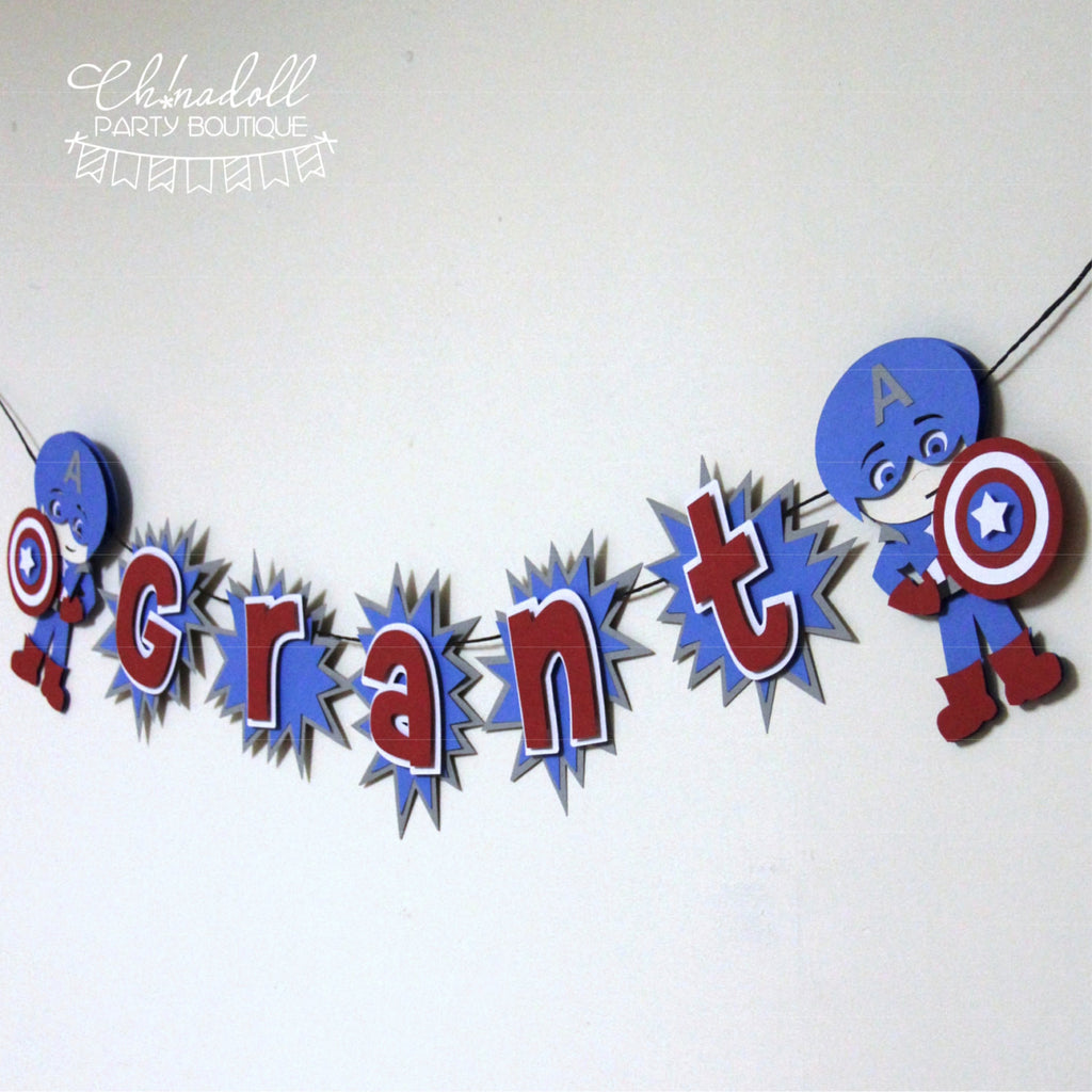 superheroes party bunting | personalised | captain america