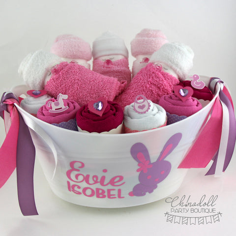 baby shower gift basket | medium | lilac and pink | baby bunny