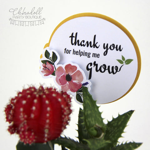 plant pot sign | thank you for helping me grow