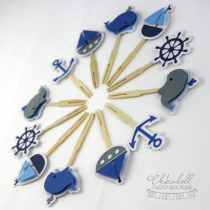 sail away nautical cupcake toppers | 12 pack