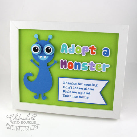 little monsters party sign | adopt a monster