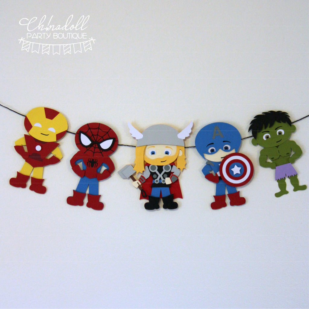 superheroes party bunting | 5 characters