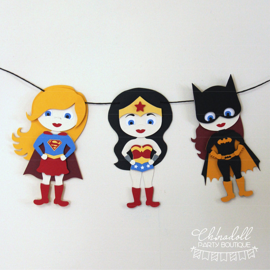 superheroes party bunting | 3 character