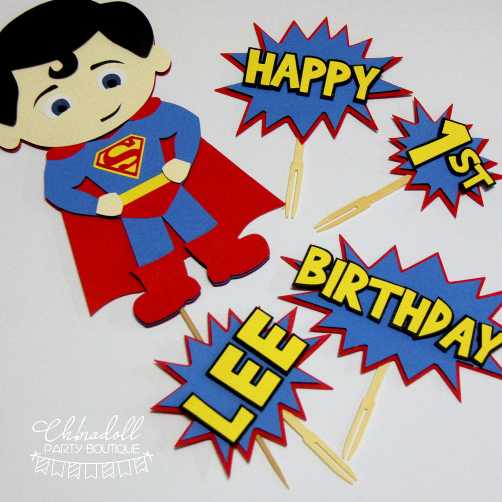 superheroes cake topper deluxe set | superman