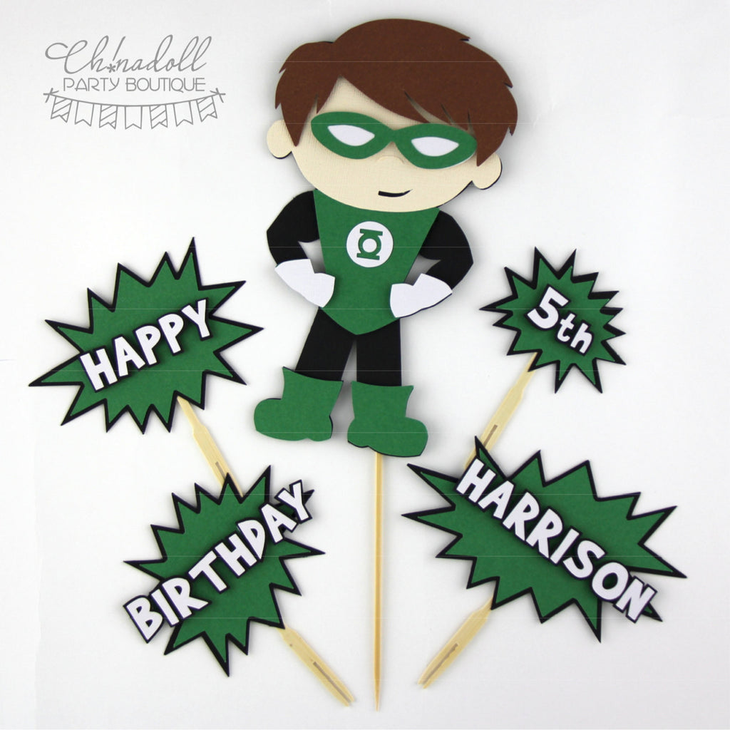 superheroes cake topper deluxe set | green lantern