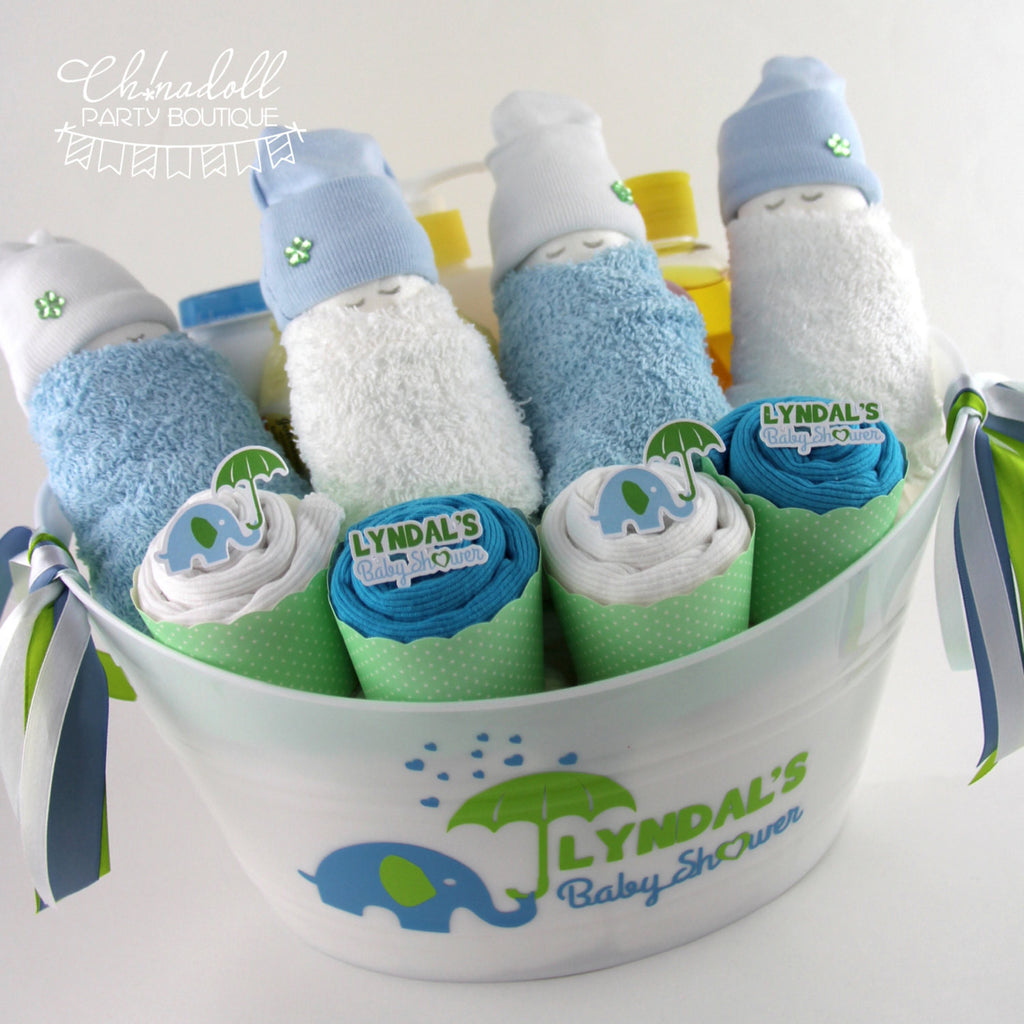 baby shower gift basket | plus | blue and lime | baby elephant