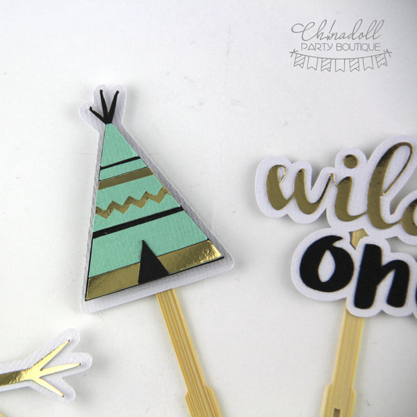tribal cupcake toppers | 12 pack