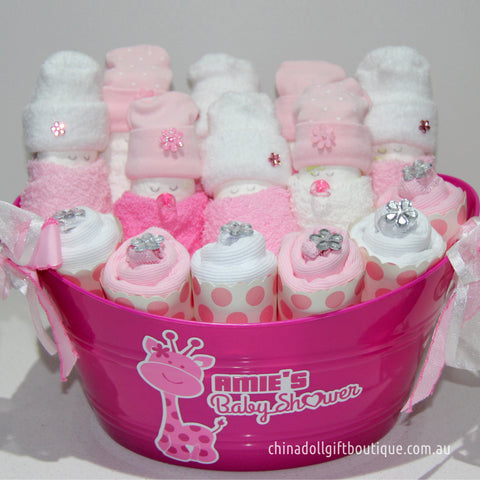 baby shower gift basket | deluxe | pink and white | baby giraffe