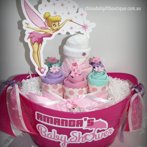 baby shower gift basket | small | pink | tinkerbell