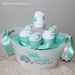 baby shower gift basket | small | mint and white | baby elephant