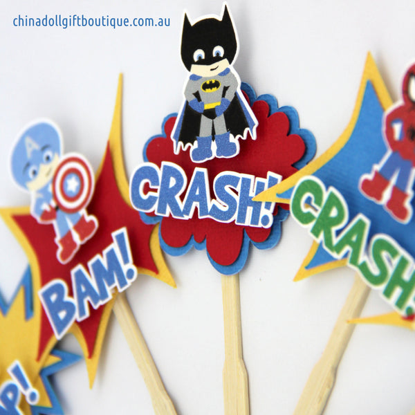 superheroes cupcake toppers | 12 pack | red yellow blue