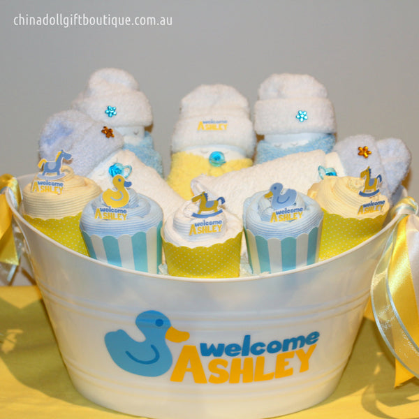 baby shower gift basket | medium | blue and lemon | duck
