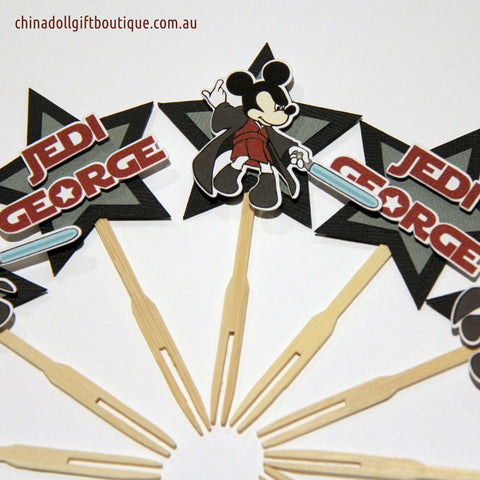 jedi mickey cupcake toppers | 12 pack | inspired by disney mickey mouse star wars