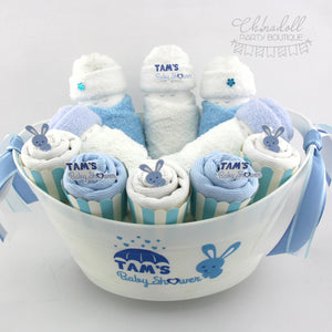 baby shower gift basket | medium | blue and white | bunny rabbit