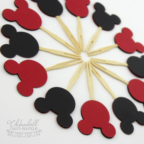 mickey mouse inspired cupcake toppers | red and black double sided | 12 pack