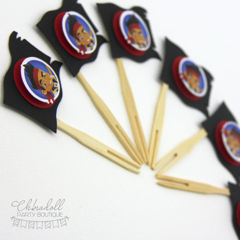 pirate cupcake toppers | 12 pack | READY TO SHIP | inspired by jake and the neverland pirates