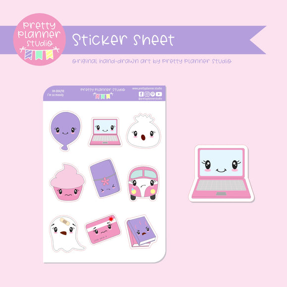I'm so moody - mixed set A (pink & lilac) | sticker sheet | IM-004/90