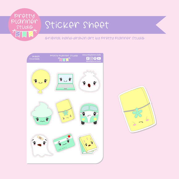 I'm so moody - mixed set B (mint & yellow) | sticker sheet | IM-004/91
