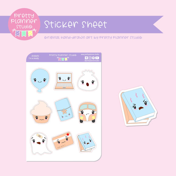 I'm so moody - mixed set C (blue & peach) | sticker sheet | IM-004/92