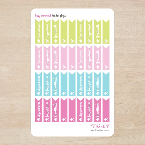 busy mermaid - headers | appointments important gratitude blank | sticker sheet