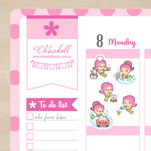 busy mermaid - chores | sticker sheet | BM-101