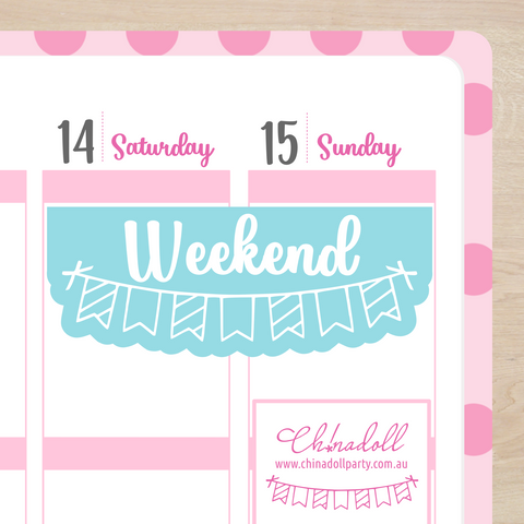 busy mermaid - weekend header | sticker sheet | ECLP vertical
