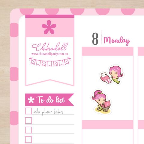 planner stickers | busy mermaid | work | READY TO SHIP