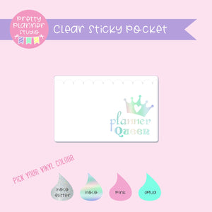 Self-adhesive sticky pocket - planner queen | clear scalloped