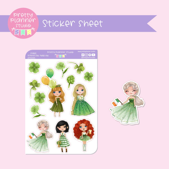 St Patrick's Day - Paddy's day princesses | deco sticker sheet | ST-004/2
