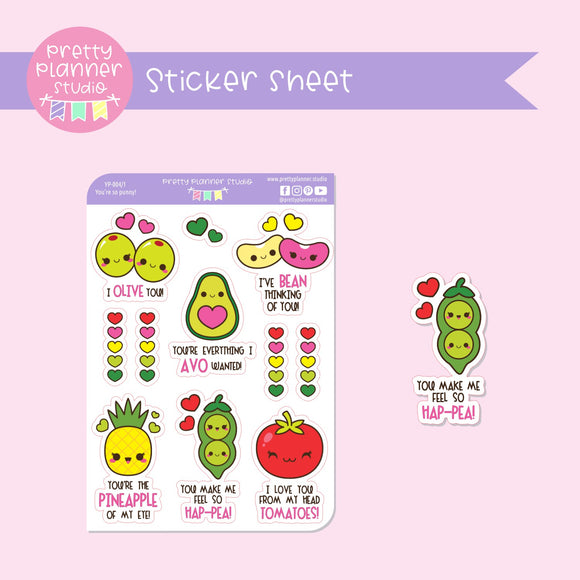 You're so punny! - fruit | deco sticker sheet | YP-004/1