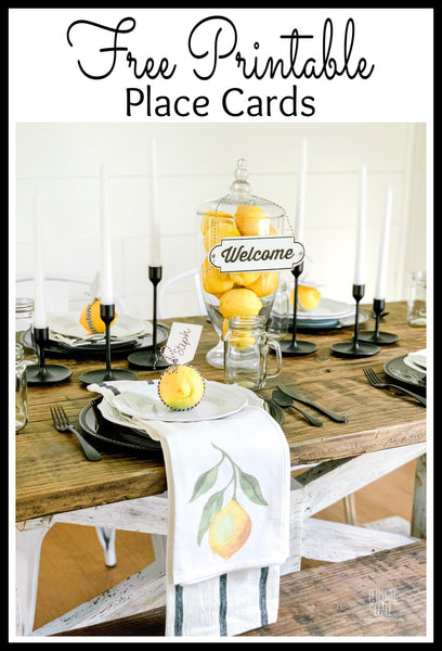 Summer Lemon Tablescape with Free Printable Place Cards