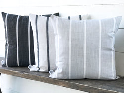 Vertical Stripe Washed Linen Farmhouse Pillow Cover - Multiple Colors - Returning Grace Designs