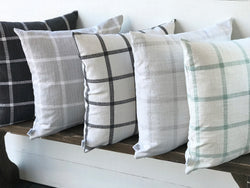 Plaid Washed Linen Farmhouse Pillow Cover - Multiple Colors - Returning Grace Designs