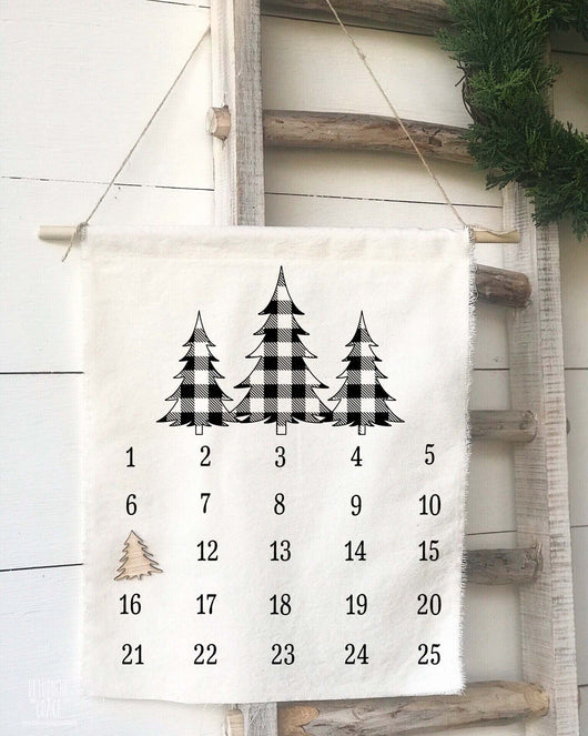 Buffalo Check 3 Trees Christmas Countdown Calendar - Returning Grace Designs